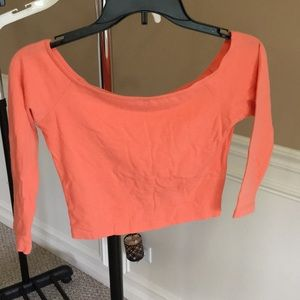 Peach color off the shoulder 3/4 sleeve crop top
